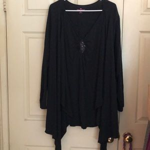 Woman Within Top/Attached Cardigan Black Size 3X